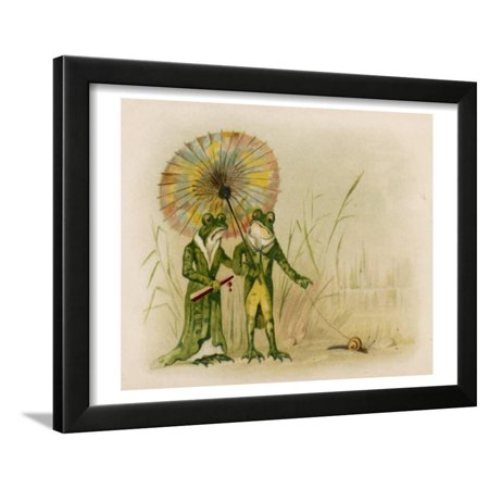 Couples To Dress Up As (A Well-Dressed Frog Couple Take their Pet Snail for a Walk Framed Print Wall)
