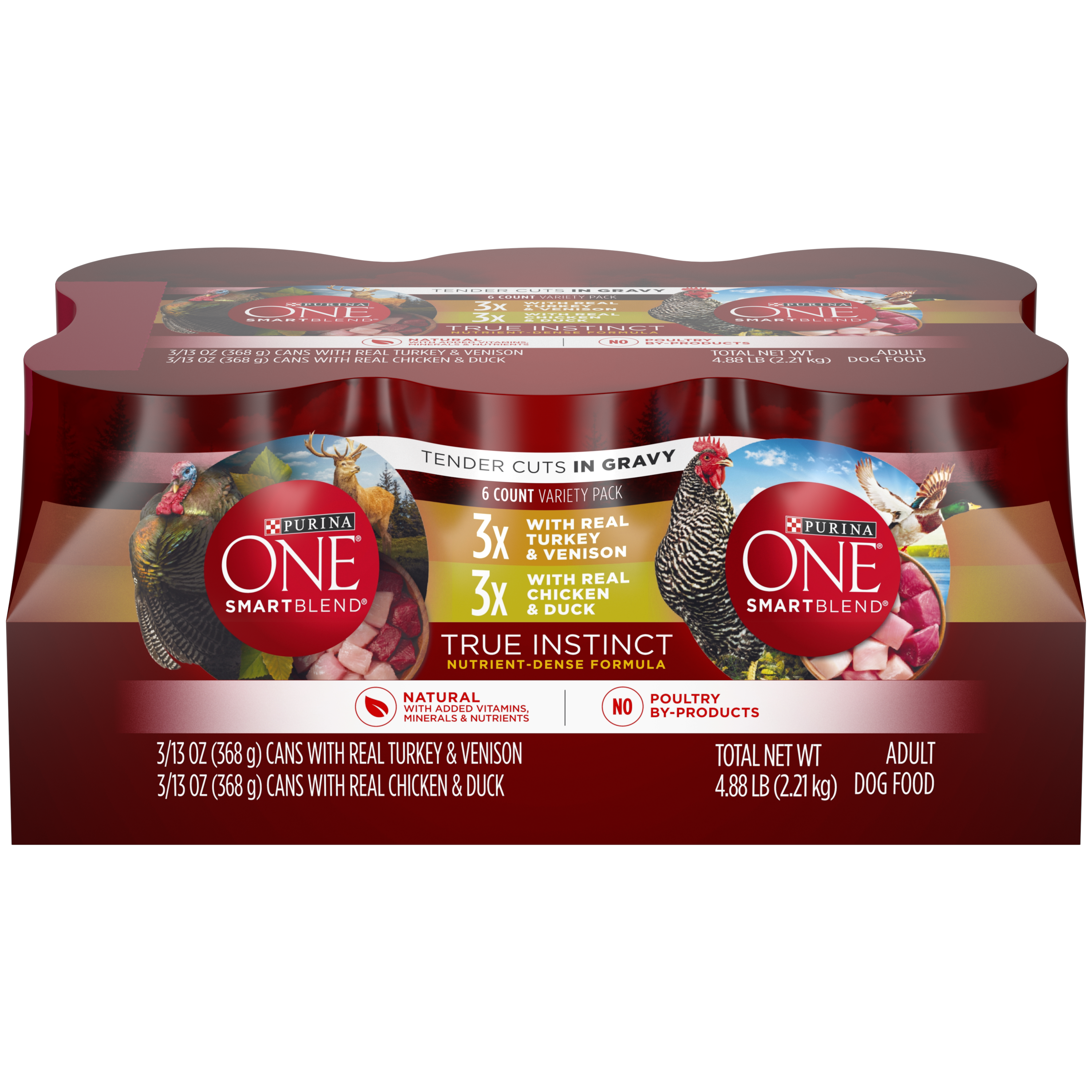 Purina ONE Natural Gravy Wet Dog Food Variety Pack; SmartBlend True Instinct Tender Cuts - (12) 13 oz. Cans