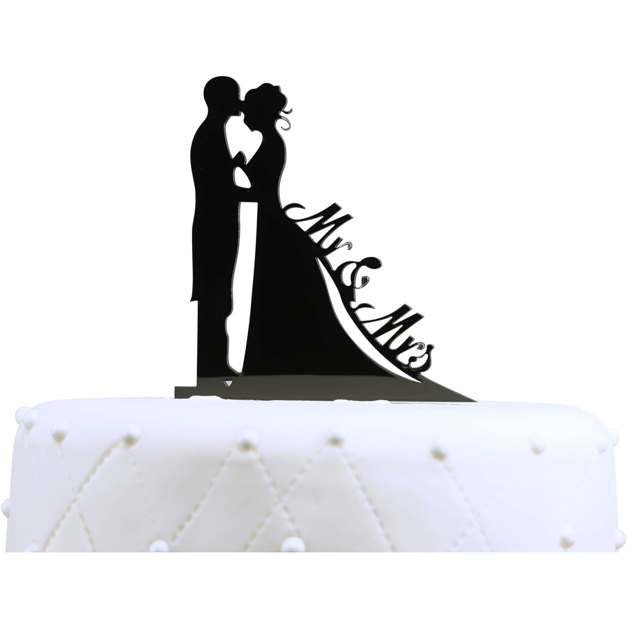 Unik Occasions Bride And Groom Silhouette Mr Mrs Cake Topper