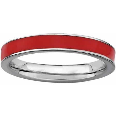 Sterling Silver Red Enameled 3.25mm Ring