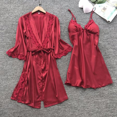 3Pcs Womens Sexy Silk Satin Pajamas Robe Dress Lingerie Sleepwear Nightwear Set Red](Red Satin Robe)