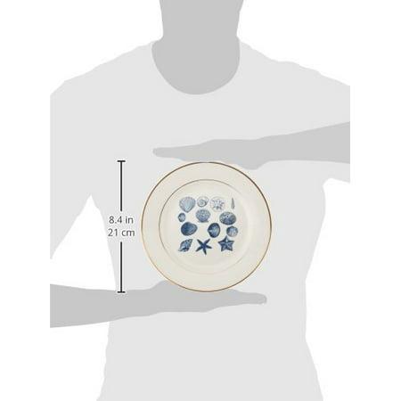 3drose blue sea shells nautical beach decor theme ocean art, porcelain plate, 8-inch