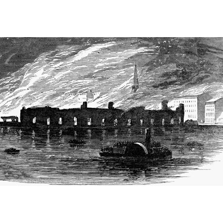Freight Depot Halloween (Detroit Fire 1865 Nburning Of The Michigan Central Freight Depot At Detroit Michigan 18 October 1865 Wood Engraving From A Contemporary Englilsh Newspaper Poster Print by Granger)