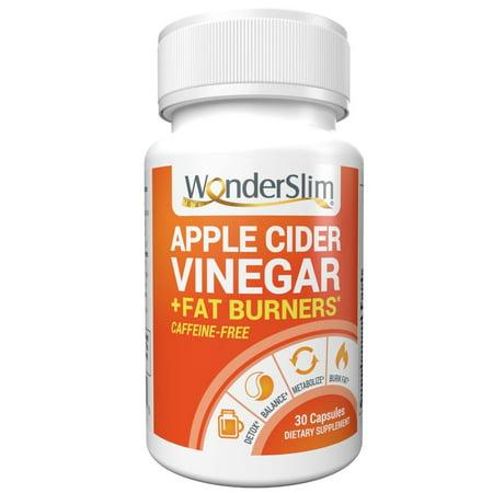 WonderSlim Apple Cider Vinegar Capsules + Fat Burner, Appetite Suppressant, Detox Weight Loss Pills for Women & Men - Diet Pills w/Capsimax Capsaicin from Cayenne Pepper, Green Tea Extract – 30 Count