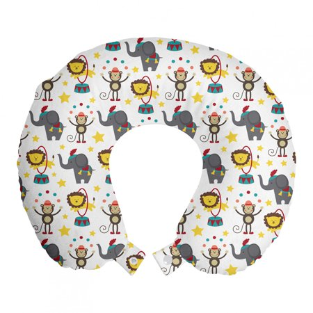 """Baby Travel Pillow Neck Rest, Happy Circus Animals Performing Jumping Posing Juggling Stars Backdrop Cartoon Style, Memory Foam Traveling Accessory Airplane and Car, 12"""", Multicolor, by Ambesonne"""