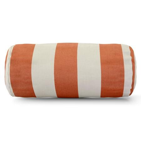 Majestic Home Goods Indoor Outdoor Burnt Orange Vertical Stripe Round Bolster Decorative Throw Pillow 18.5 in L x 8 in W x 8 in - Stripe Outdoor Pillow