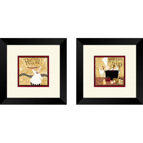 PTM Images Kitchen Pasta Chef 2 Piece Framed Graphic Art Set
