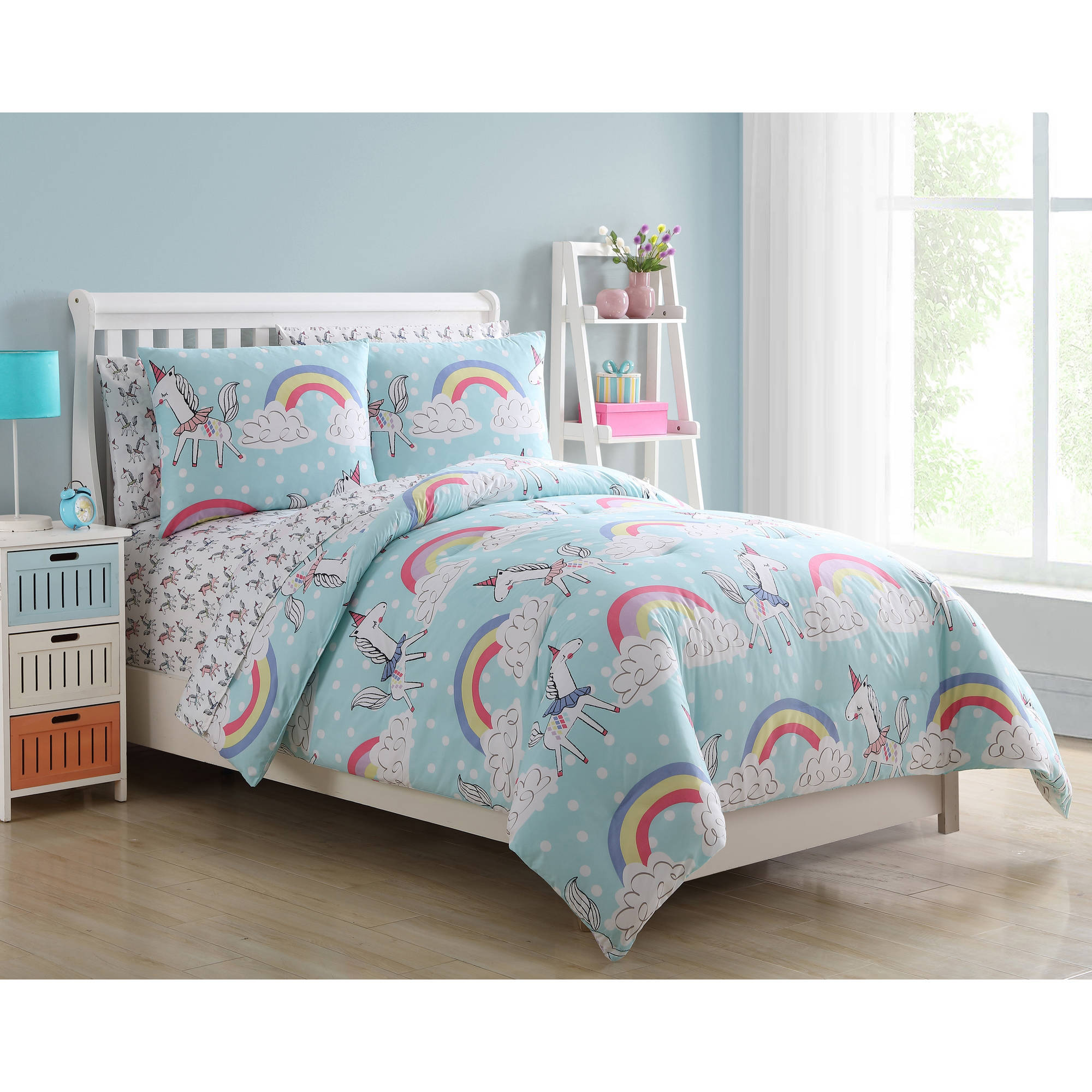 VCNY Home Light Blue Unicorn Rainbow Daydreaming Kids ...