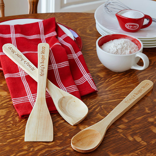 Personalized Wooden Essential Kitchen Utensils, 3-Piece Set
