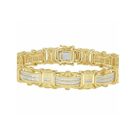 Sorrelli Designer Bracelet (Real Diamond Yellow Gold Finish Men's Designer Bracelet 1/2 CT 12MM )