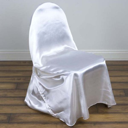 - Silky Satin Universal Wedding Chair Covers, White