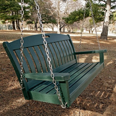 Awesome Polywood Nautical 4 Ft Recycled Plastic Porch Swing Hunter Green Caraccident5 Cool Chair Designs And Ideas Caraccident5Info