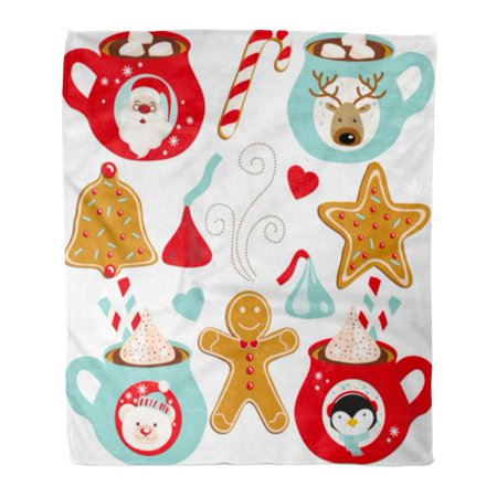 SIDONKU Flannel Throw Blanket Red Gingerbread Hot Chocolate Christmas Green Cocoa Candy Bear Soft for Bed Sofa and Couch 50x60 Inches ()