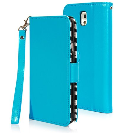 ELV Galaxy Note 3 Deluxe PU Leather Wallet Case, TURQUOISE- Zebra Print Interior