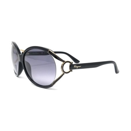 Salvatore Ferragamo Sunglasses SF600S 001 Black Oval (Ferragamo Sunglasses Womens)