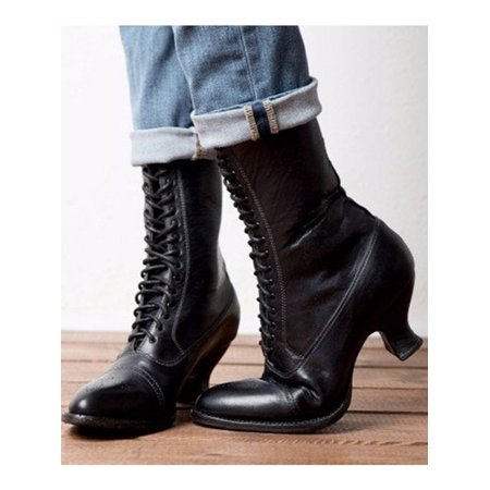 Women Victorian Style Boots Lace-Up Thick Heel Boots (Ladies Heel Boots)