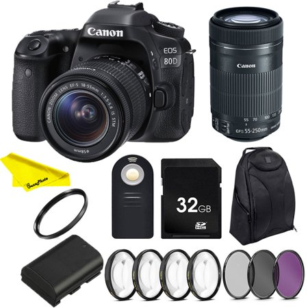 Canon EOS 80D DSLR Camera with 18-55mm IS STM & 55-250 IS STM Lenses + SD Card + Buzz-Photo Photographers