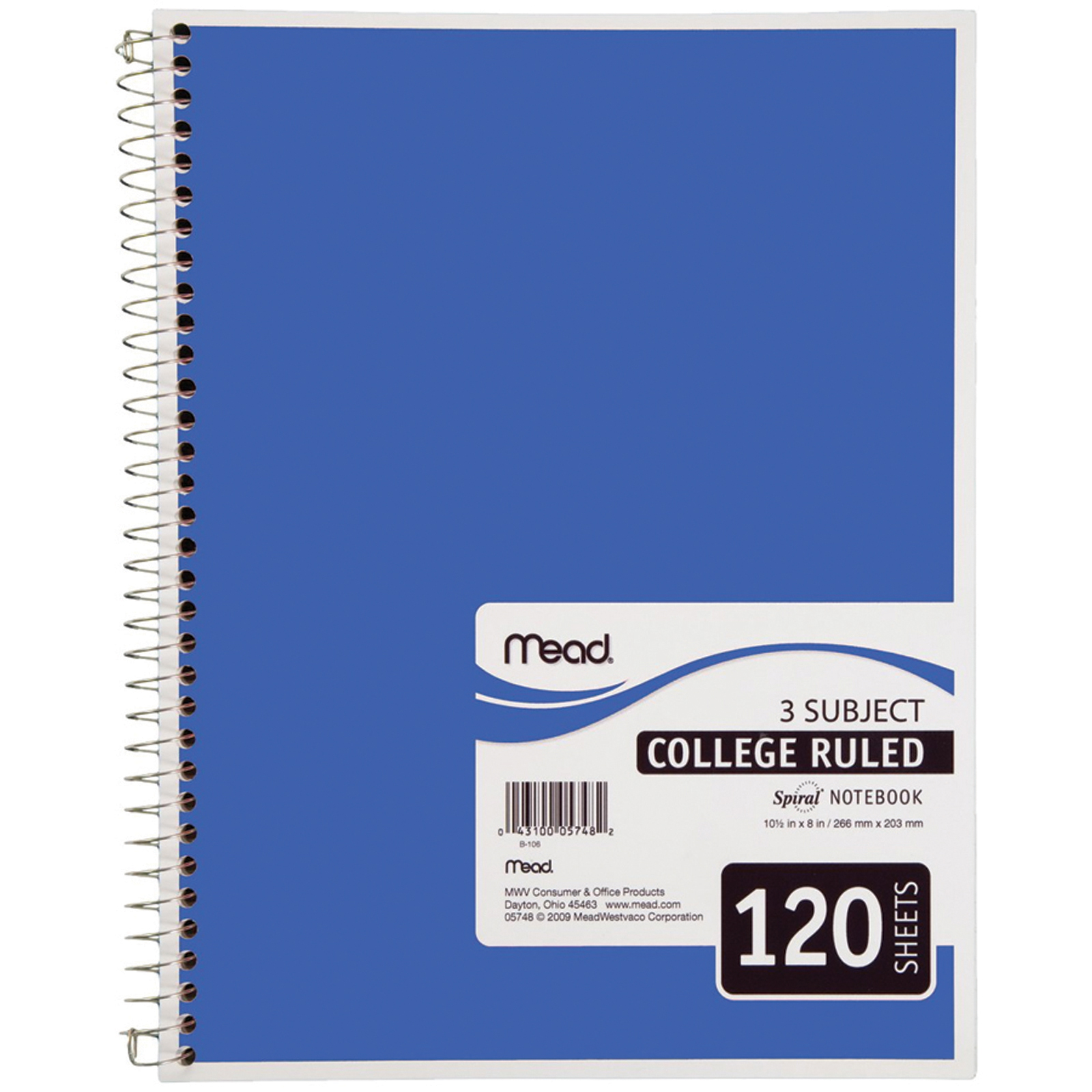 """Spiral 3 Subject Notebook, College Ruled 120Ct. 8X10.5"""" - 1 Pkg"""