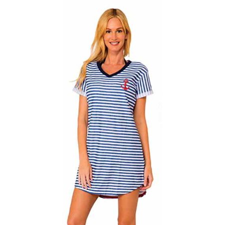 Ingear Nautical Terry Stripe Anchor Swim Cover Up Dress (Nautical Stripe,