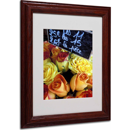 "Trademark Fine Art ""Paris Roses"" Matted Framed Art by Kathy Yates, Wood Frame"