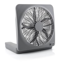 Treva 10 inch Battery Powered Portable 2 Speed table Fan with Adapter, Gray
