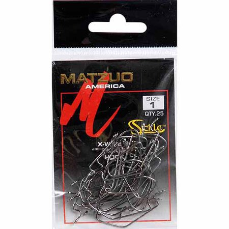 - Matzuo Sickle X-Tra Wide Gap Worm Hook, Black Chrome, 25-Pack