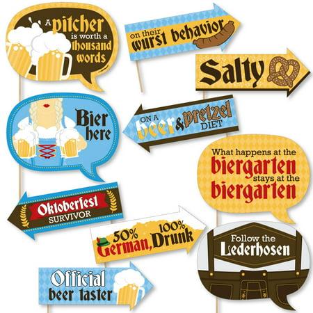 Funny Oktoberfest - German Beer Festival Photo Booth Props Kit - 10 Piece - Oktoberfest Photo