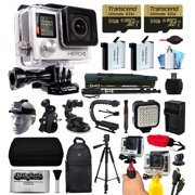 GoPro Hero 4 HERO4 Black Edition 4K Action Camera Camcorder with 2x Micro SD Cards, 2x Battery & Charger, Backpack, Helmet Strap, Handle, Car Mount, Selfie Stick, Tripod, Travel Case