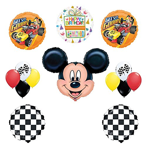 Mickey Mouse Birthday Party Supplies and Mickey Roadster Balloon Bouquet Decorations