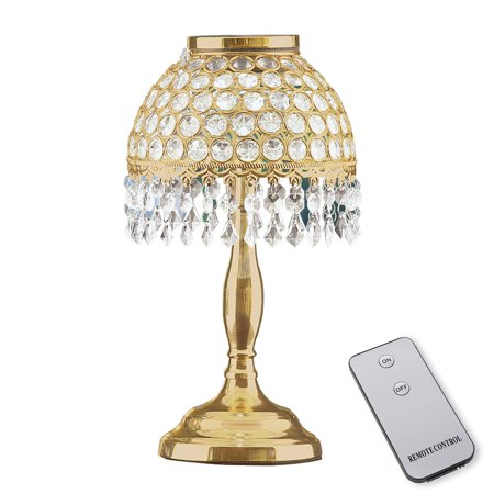 Faux Crystal Gold Tone Table Lamp With Remote 11 3 4 H