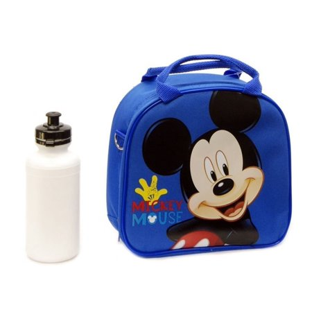 New Disney Mickey Mouse Lunch Box Bag with Shoulder Strap and Water Bottle- Blue, Size: Approx: 9 x 9 x 3 By 5StarService
