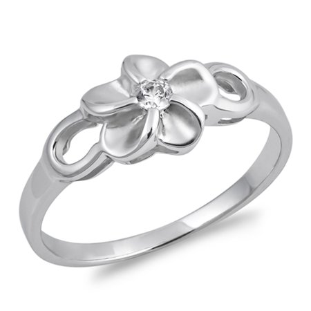 White CZ Hawaiian Plumeria Tropical Flower Ring Sterling Silver Band Size 9