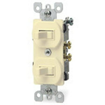 Leviton 5224-2I Combination Switch, Toggle, (2) 1-Pole, 15A, 120V, Ivory