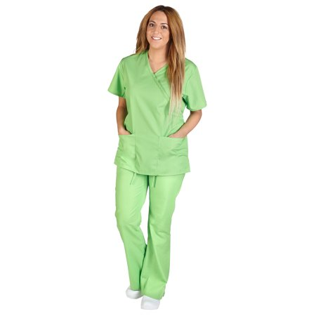 M&M Scrubs Women's Tie Back Solid Medical Scrub Set