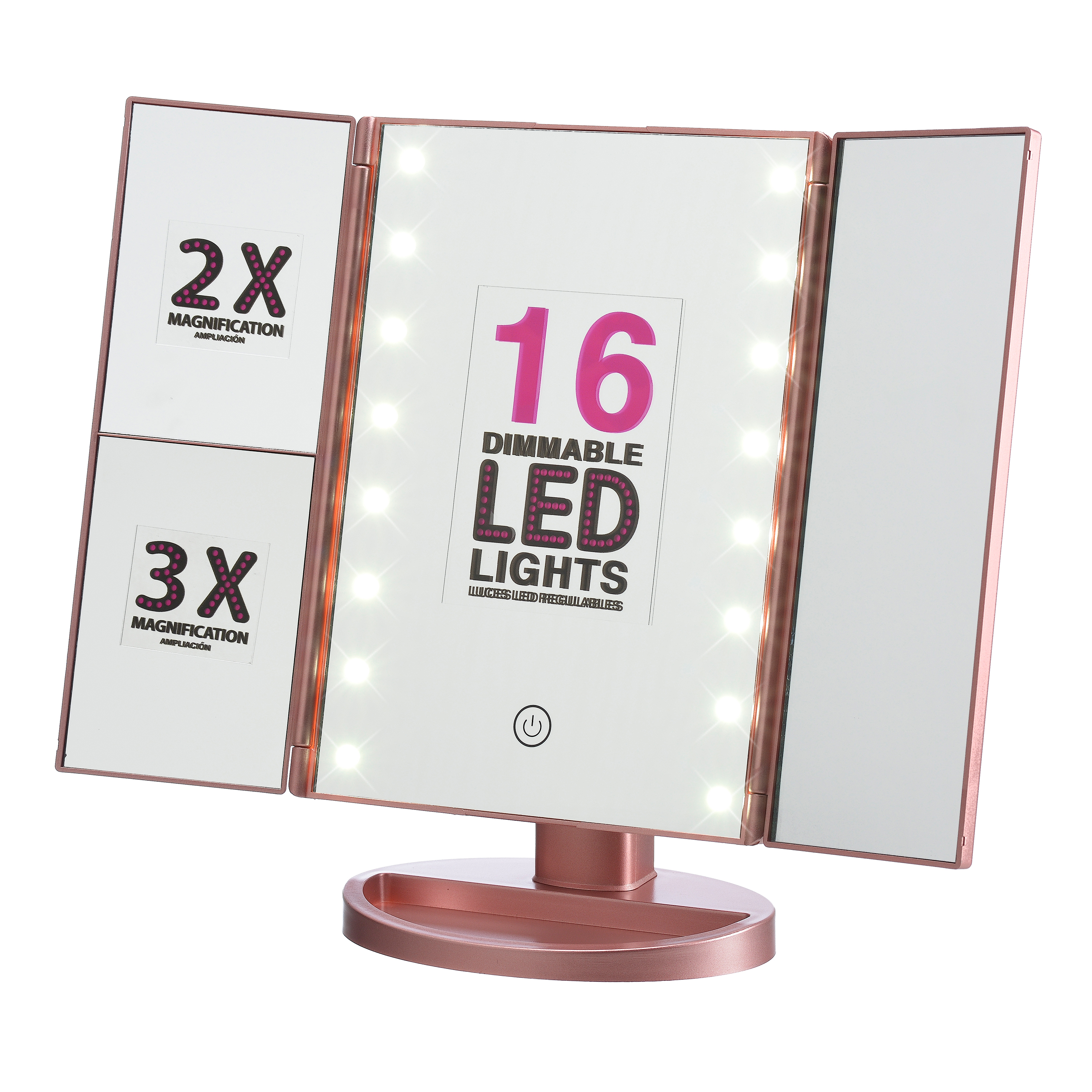 Onyx Makeup Mirror ($26 Value) with Dimmable LED Lights, Pink