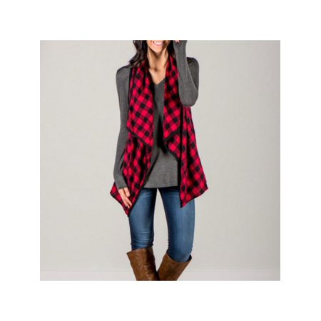Ropalia Women Sleeveless Plaid Coat Irregular Neck Blazer Waistcoat Cardigan Tops
