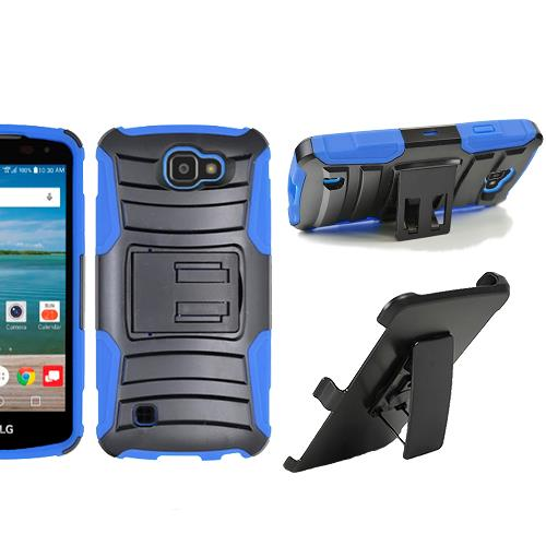 Straight Talk LG Rebel 4G LTE Case,Verizon LG Optimus Zone 3 / LG Spree Case, Heavy Duty Dual Layer Combo Holster Belt Clip kickstand (Blue)