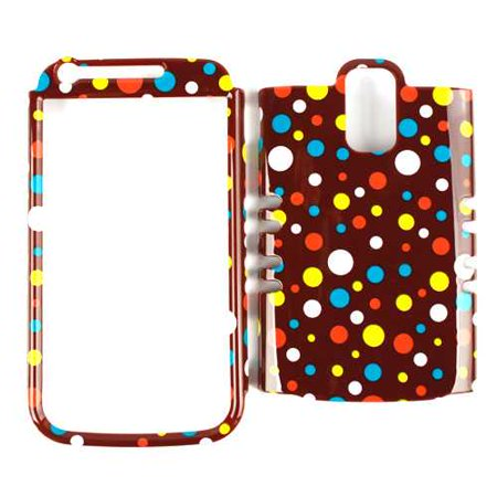 Unlimited Cellular Rocker Snap-On Case for Samsung Galaxy S2 Hercules T989 - Colorful Polka Dots on Brown