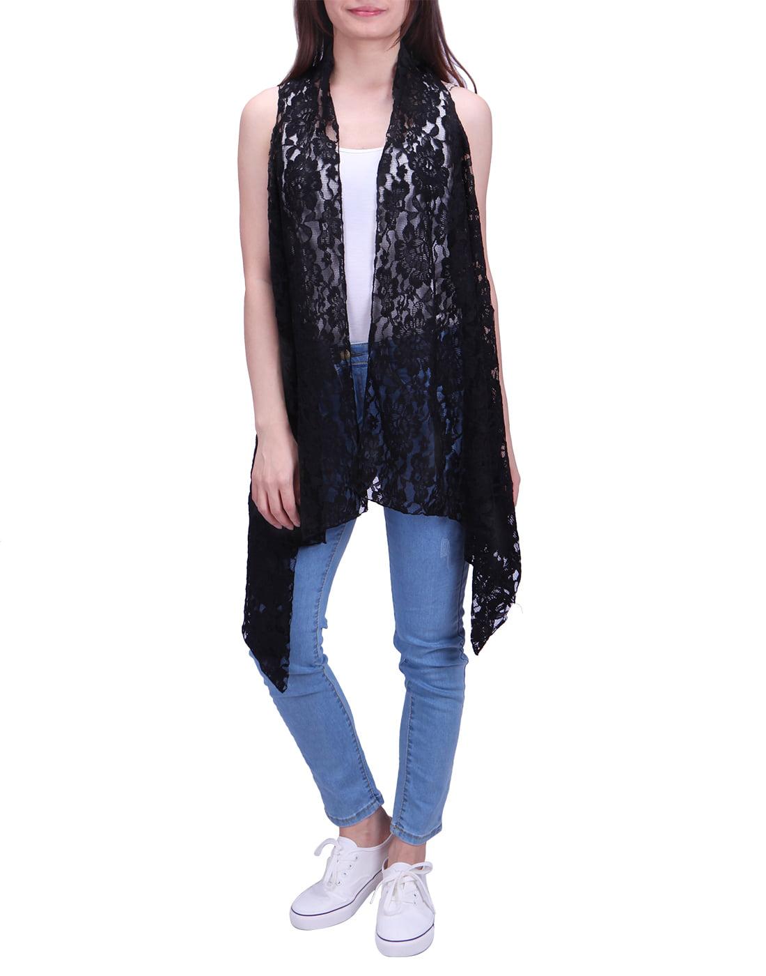 Womens Open Front Lace Vest Cardigan Sleeveless Asymmetric Drape Hem Coverup