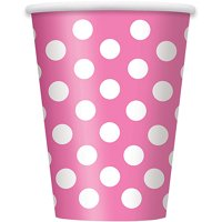 Polka Dot Paper Party Cups, 12 oz, Hot Pink & White, 6ct