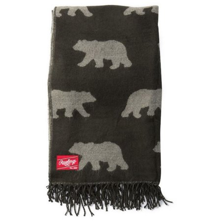 Rawlings MLB Baseball Dyed Yarn Traveling Bears Pattern Throw Blanket 70 x 53