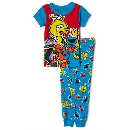 Sesame Street Tight Fitting PJ Set, 2 Piece, Blue, Blue, Size: 12 Months - Sesame Street Set