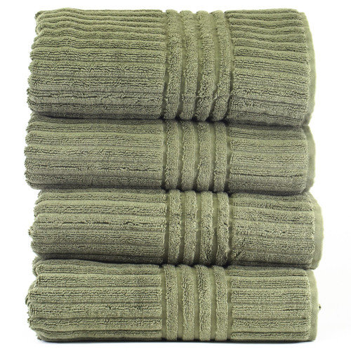 Luxury Hotel & Spa Towel 100% Genuine Turkish Cotton Bath Towels Plum Stripe Set of 4 by Bare Cotton