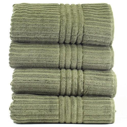 Luxury Hotel & Spa Towel 100% Genuine Turkish Cotton Bath Towels - Plum - Stripe  - Set of 4