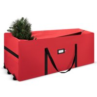 """Holiday Star Rolling Christmas Tree Storage Bag Fits tree Up To 9 Ft Tall - 59"""" x 24"""" x 18"""" x 22"""" - Red"""