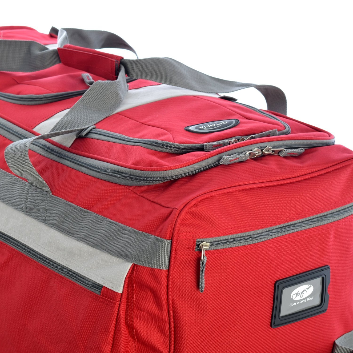 Luggage 22 8 Pocket Rolling Duffel Bag, Red/Grey, One Size
