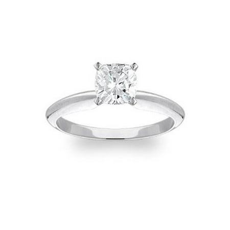 G SI 1 Carat Cushion Diamond Solitaire Engagement Ring 14K White Gold