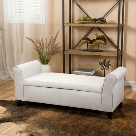 Noble House Haden Armed Light Gray Fabric Storage Bench Ottoman ()