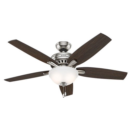 Hunter 53312 52 in. Newsome Brushed Nickel Ceiling Fan with Light by Hunter