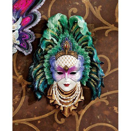 Maidens of Mardi Gras Wall Mask Sculpture: Peacock Princess (Mardi Gras Peacock Mask)